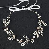 KaIFANG - Diademas de cristal, perlas de vid, accesorios para el pelo de boda A