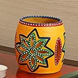 ExclusiveLane 'The Glowing Barrel' Hand-Painted Tea-Light Holder In Terracotta -Votive Candle Holders Seasonal Decorations Diyas & Lanterns Home Décor Diwali Gift Candle Holder Tea Light Decorative Items Candle Holders For Home Décor Dec