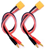 2 Pack XT90 Connector Charging Cable to 4mm Banana Plugs Adapter Charger Wire 30cm 11.8inch Lipo Battery Charge Lead for FPV