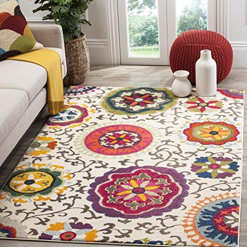 Safavieh Gewaschener Teppich zeitgenössisches Muster, MNC233, Gewebter Polypropylen, Elfenbein / Mehrfarbig, 120 x 180 cm