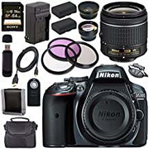 Nikon D5300 DSLR Camera With AF-P 18-55mm VR Lens (Grey) + EN-EL14 Replacement Lithium Ion Battery + External Rapid Charger + Sony 64GB SDXC Card + Carrying Case Bundle