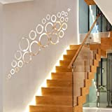 Atulya Arts Rings and Dots (Pack of 30) 3D Acrylic Sticker, 3D Acrylic Stickers for Wall - (Silver)