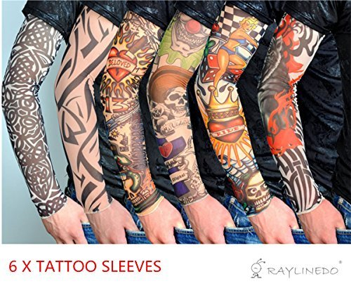 (raylinedo® 6x Temporäre Tattoo Fancy Funky Fashion Kostüm Neuheit 92% Nylon und 8% Lycra Tattoo Arm Bein Strümpfe Ärmel)