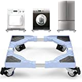 Wisfor Base de Machine à Laver, Socle Lave-Linge Roulettes, Support Pour Réfrigérateur Congélateur Sèche Linge Réglable 45-60
