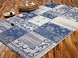 Modern Flachgewebe Ruggy Blau Patchwork in 5 Größen