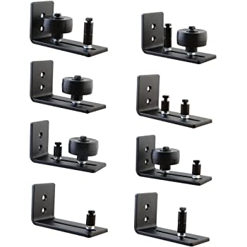 SAFETYON Barn Door Floor Guide Black Powder Coated Adjustable Wall Mounted Stay Roller with 8 Different Setups Perfect Fit for All Sliding Barn Doors Black