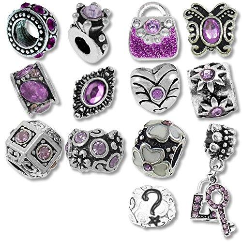 Lila-Farbtöne Monatsstein Beads und Charms kompatibel mit Pandora Armbändern (Pro Schmuck Pandora Armband)