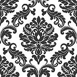 """nuwallpaper Peel and Stick de """"Damasco Papel pintado, Ariel Color Blanco y Negro"""