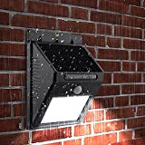 #8: Getko With Device LED Solar Panel Power Light Wall Lamp Motion Sensor Luminaria Energy 20Leds Waterproof Sunlight for Garden Outdoor Stairs (Black)