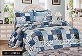 3tlg. Patchwork Tagesdecke Blau Bettüberwurf Überwurf für Doppelbett Blau 230x250