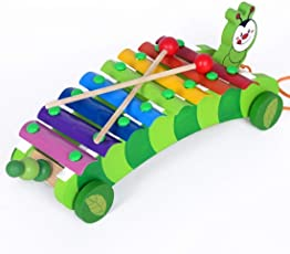 Babytintin Wooden Xylophone Musical Instrument Xylophone Car Drag Animal Hand and Struck Xylophone Piano Toy for Kids