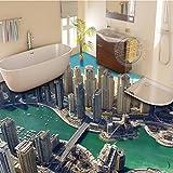 Mbwlkj Benutzerdefinierte Stadt Erdgeschoss Malerei Wandbilder Wohnzimmer Tv-Kulisse Bad Wandbild Tapete 3D-Bodenbeläge-400Cmx280Cm