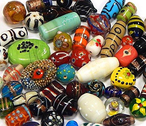 250g Glasperlen Mix Set Indian Glas Perlen Beads Silberfolien Lampwork Rund Würfel Konvolut Bunt Perlenset Bastelset Für Schmuck (250)