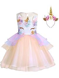 d77b05206 FONLAM Vestido de Fiesta Princesa Niña Bebé Disfraz de Unicornio Ceremonia Cumpleaños  Vestido Infantil Flores Carnaval