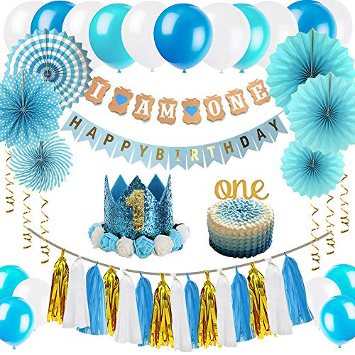 ZNZ Baby Geburtstag Dekorationen, Baby erste Geburtstagsdeko Kit | Ammer Banner, Luftballons, hängende Papierfächer Blume Set, Cake Topper, Papierquasten und Baby Prinzessin Kranz Krone Hut (Blue01)