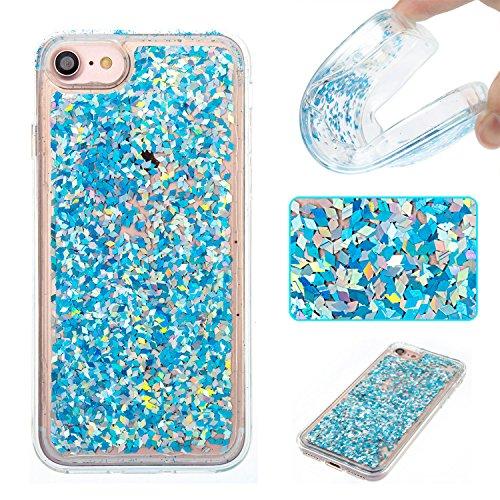 iphone 4s hülle flüssig, LuckyW PC Hardcase Handyhülle für Apple iPhone 4 4S 3D Bling Glitter Glitzer Flowing Fließend Liquid Flüssig Shinny Moving Star Floating Trend Schwimmend Treibend Stern Quicks Blauer Diamant