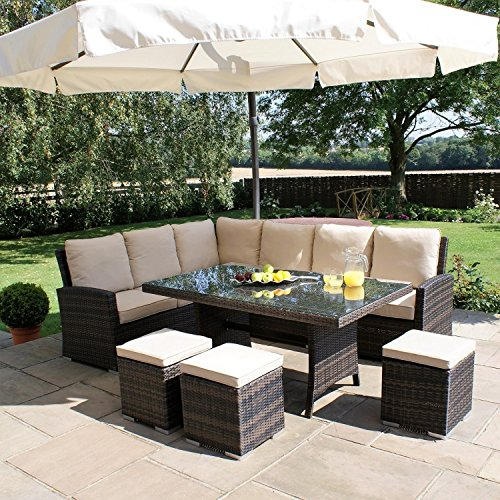 San Diego Rattan Garden Furniture Kingston Brown Corner Dining Set Garden R