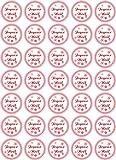 Jintora Joyeux Noël - Autocollants de Noël pour 35 pièces 30x30mm - Blanc Vintage - étiquettes - Stickers - Calendrier de l'Avent - Rond - Coupe Bricolage - Coller des Cadeaux ou des Cartes