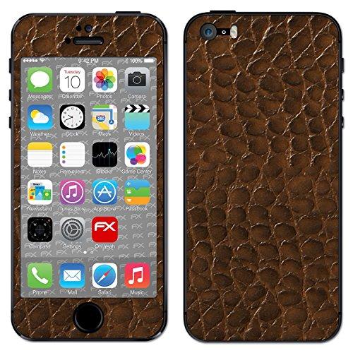 "Skin Apple iPhone 5S / SE ""FX-Brushed-Black"" Designfolie Sticker FX-Everglade-Brown"