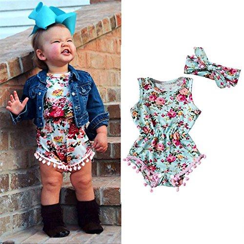 LETTER® Baby Girl Floral Bodysuit Spielanzug Overall und Stirnband Set (6M) (Junge Affen Ohren Stirnband Kind)