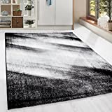 HomebyHome Moderner Design Guenstige Teppich Kurzflor abstrakt Schatten Schwarz Grau Weiss meliert 5 Groessen Wohnzimmer ver. Farben u. Groeßen, Größe:160x230 cm