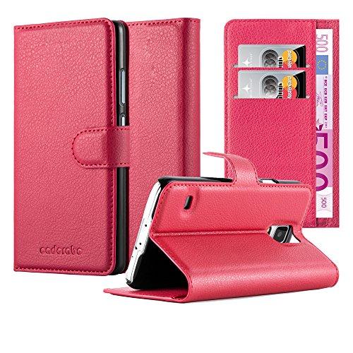 Cadorabo Hülle kompatibel mit Samsung Galaxy S5 / S5 NEO Hülle in Karmin ROT Handyhülle mit Kartenfach und Standfunktion Schutzhülle Etui Tasche