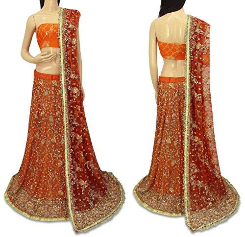 Vintage Indische Braut Lehenga Netz Dupatta Hand Perlen Set Lange Used Rock Orange Dupatta Set
