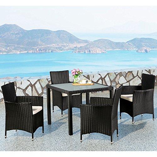 Polyrattan Essgruppe Rimini M für 4 Personen mit Glas Tischplatte