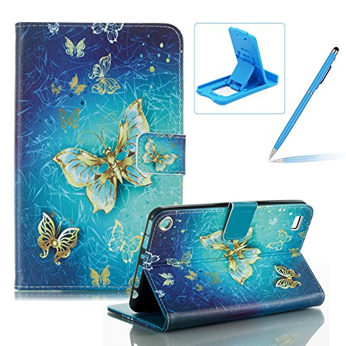 For Amazon Kindle Fire 7 inch 2015 Release Tablet Flip Leather Case,For Amazon Kindle Fire 7 inch 2015 Release Slim Lightweight Wallet Kickstand Case,Herzzer Fashion Pretty [Luxury Butterfly Printed] Shockproof Scratch Resistant Perfect Fit PU Leather Wallet Purse Folio Smart Stand Cover with Card Cash Slot Soft TPU Inner Case Protective Skin For Amazon Kindle Fire 7 inch 2015 Release + 1 x Free Blue Cellphone Kickstand + 1 x Free Blue Stylus Pen Test