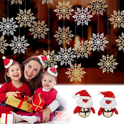 HomeMall 24 Stück Schneeflocken Weihnachten Deko für Weihnachtsbaum Glitzer Weiß und Gold Kunststoff Weihnachten Ornaments (10CM) + 2 PCS Sankt Weihnachtsglocken hängend Weihnachtsbaumschmuck