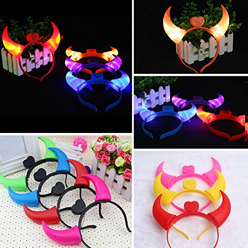 EMVANV Light Up Devil Horn Headband Lovely Halloween Party LED Flashing Hair Band Glow in the Dark Blinking OX Horn Costume Head Boppers 20 15cm Red