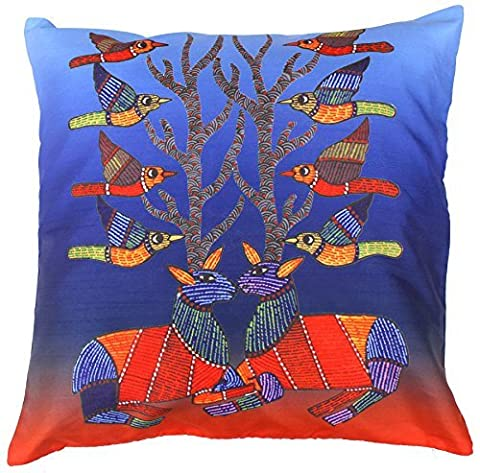 SouvNear Throw Pillow Covers 18 X 18 Inch Orange & Blue Patio Cushion Cover with Zipper - Unique Pillow Cases for Couch Sofa Ottoman Bed Living Room & Rocking Chairs - Decorative Cushion Covers Birds & Antlers