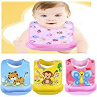 BabyGo Silicone Baby Detachable Waterproof Apron Bibs (Set of 3)