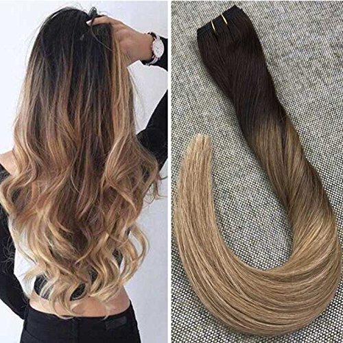 Ugeat 1 Bundle 22 Zoll Ombre Haare Tressen #2/6/12 Balayage Brown Echthaar Weaving Extensions Haarverlangerung