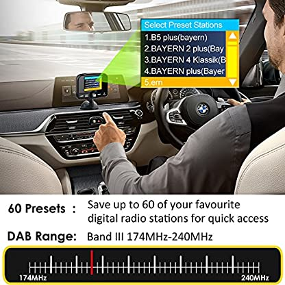 FirstE-DABDAB-Autoradio-Adapter-24-Farb-Autoradio-60-Presets-Stationen-Tragbar-Digital-Radio-DAB-Transmitter-Bluetooth-Freisprechanruf-FM-SenderAux-InOut64G-TF-Musik-PlayDual-USB-Ladegert