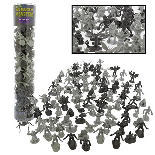 Monster Action Figure Bucket - Big Bucket of 100 Horror Toy Figures - From Dracula to Frankenstein to Giant Spiders by SCS Direct (Giant Bucket)