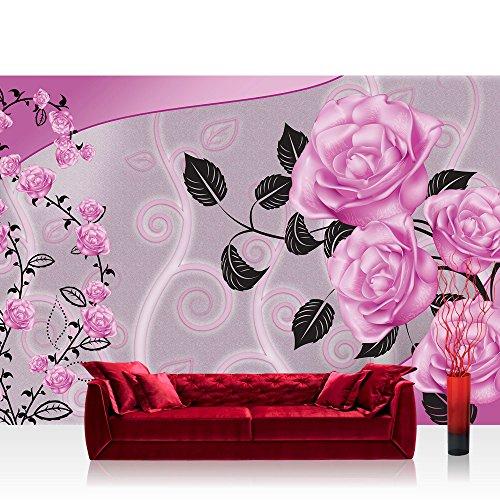 Papel Pintado Fotográfico Premium Plus fotográfico pintado-cuadro de pared-Flores pintado flores hojas de rosas rosa-No. 2618, Fucsia, Fototapete 254x184cm | PREMIUM Blue Back