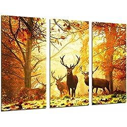 Cuadro Moderno Fotografico Animal Ciervos en la Naturaleza, paisaje de Otoño, 97 x 63 cm, ref. 26780