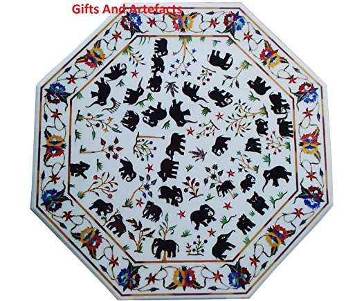 Inlay Top Sofa Tisch (Gifts And Artefacts 91,4 cm Octagon weiß Marmor Luxus Sofa Tisch Top Inlay Schwarz Elefant Royal Design)