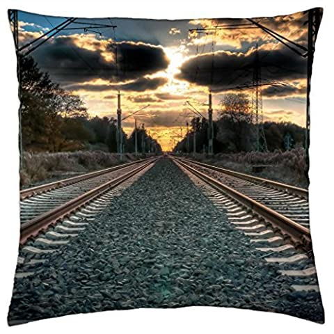 amazing straight train tracks hdr - Throw Pillow Cover Case (16