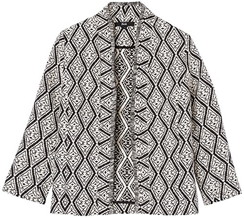 FIND Jaquard Kimono Giacca Donna, Nero (Black/ivory), 44 (Taglia Produttore: Medium)