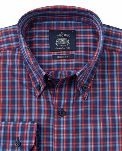 Savile Row Men's Navy Red Blue Check Casual Fit Shirt Navy Red Blue