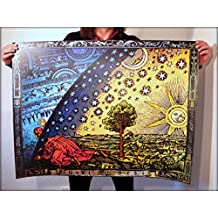 Flat Earth THE FLAMMARION ENGRAVING 1888 Poster Print: Psychedelic Firmament Dome Pictorial