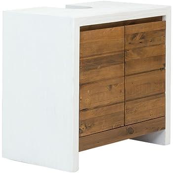 Woodkings Bad Waschbeckenunterschrank Burnham Pinie Weiss Natur