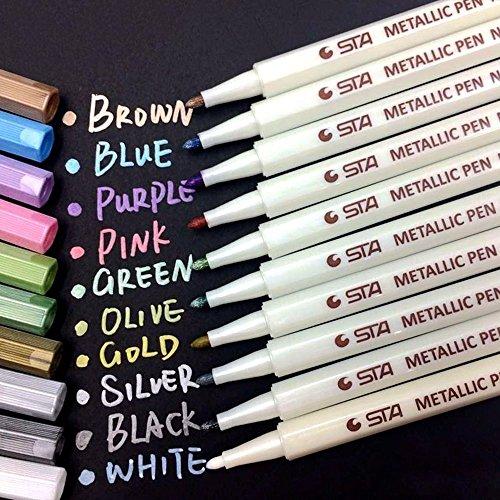 Set Lackstift (Metallic Marker Pens, Satz von 10 sortierten Farben metallischen Stift Marker für Kartenherstellung DIY Fotoalbum Gästebuch Gebrauch by Jr.Hagrid)
