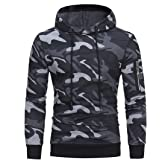 Men's Hoody Pullover Long Sleeve Slim Fit Color Matching Camo Fashion Running Sweatshirt Spring, Autumn and Winter New Comfor