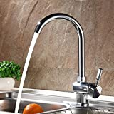 Auralum Modern Taps Mixer Kitchen Sink Taps Single Lever Swivel Spout Taps Luxury Chrome Faucets with Brass Faucet Body and Ceramic Cartridge(Hot and