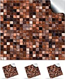 30 Copper Brown - Self Adhesive Mosaic Wall Tile Decals For 150mm (6 inch) Square Tiles –(TP3)- Realistic Looking Stick On Wall Tile Transfers Directly From the Manufacturer: TILE STYLE DECALS, No Middleman -- Peel and Stick on Tile to Transform your Kitchen, Bathroom – Oil-proof, Waterproof Tile Stickers, Heat Resistant Sticks on tile kitchen tiles stickers / Bathrooms Tile Stickers – (Copper Brown, Full Pack of 30)
