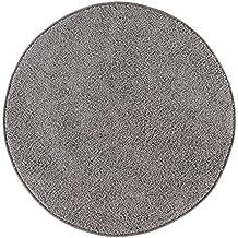 misento 292193 alfombra de pelo largo Shaggy, 133 cm redondo, gris/marrón