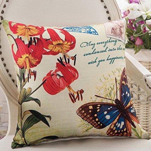 American Country Kissen Schmetterlinge und Blumen-Kissen Sofakissen Büro-Stuhl-Kissen Auto-Kissen-G 45x45cm(18x18inch)VersionA (Stoff Abgedeckt Stühle)